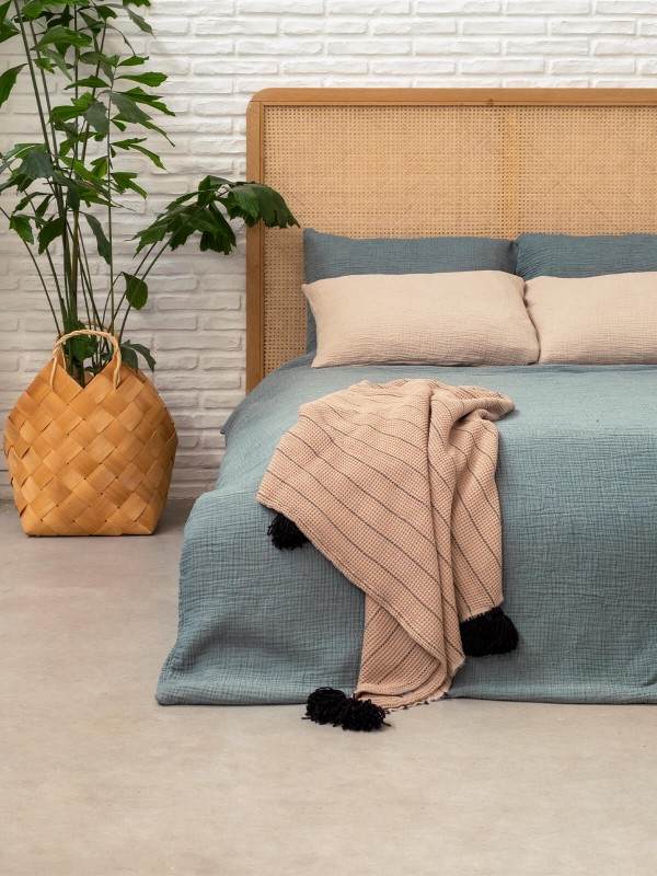 Beige/Black Throw - Buhur Collection