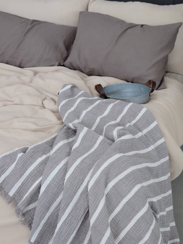 Khaki Throw - Cocoon Stripe Collection