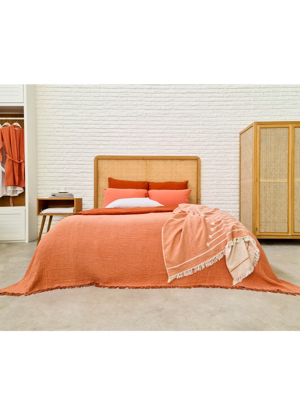 Apricot/Ginger Snap Bed Cover - Cocoon Collection