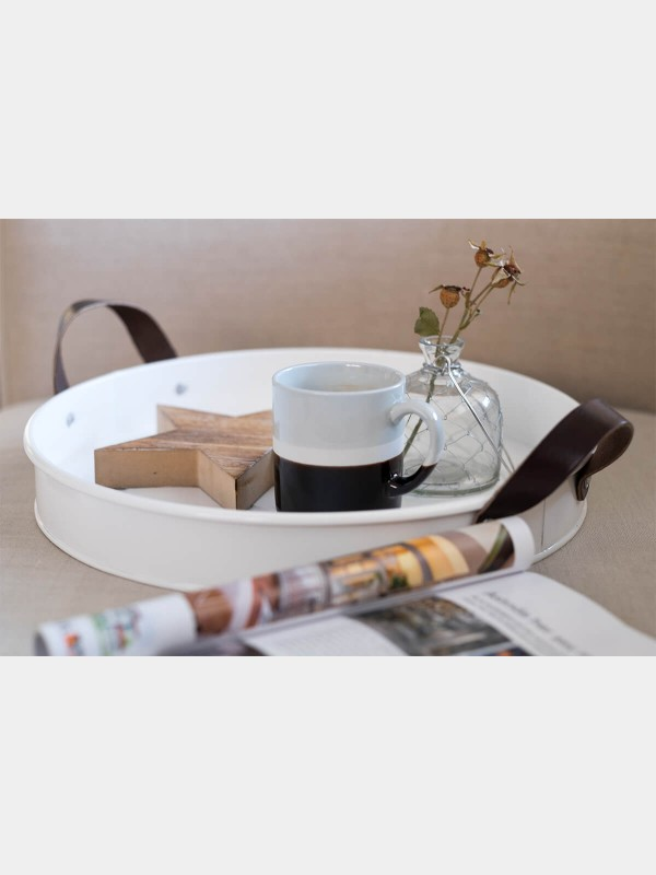 Serving White Tray with Leather Handle