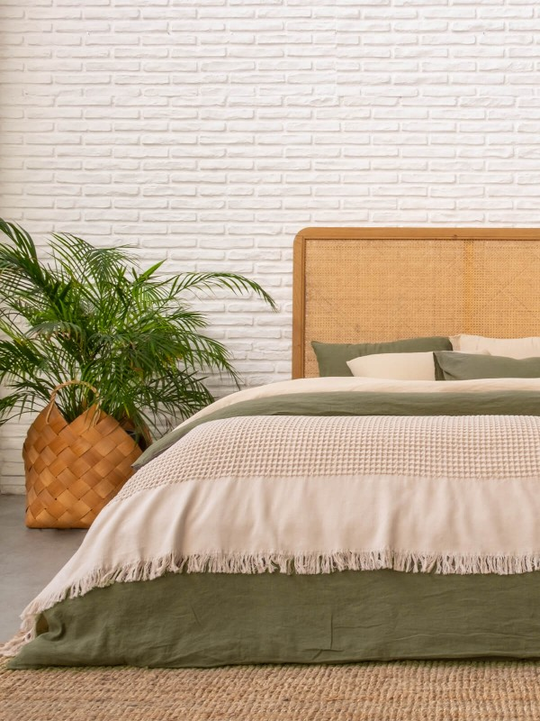 Beige Bed Cover - Waffle Collection