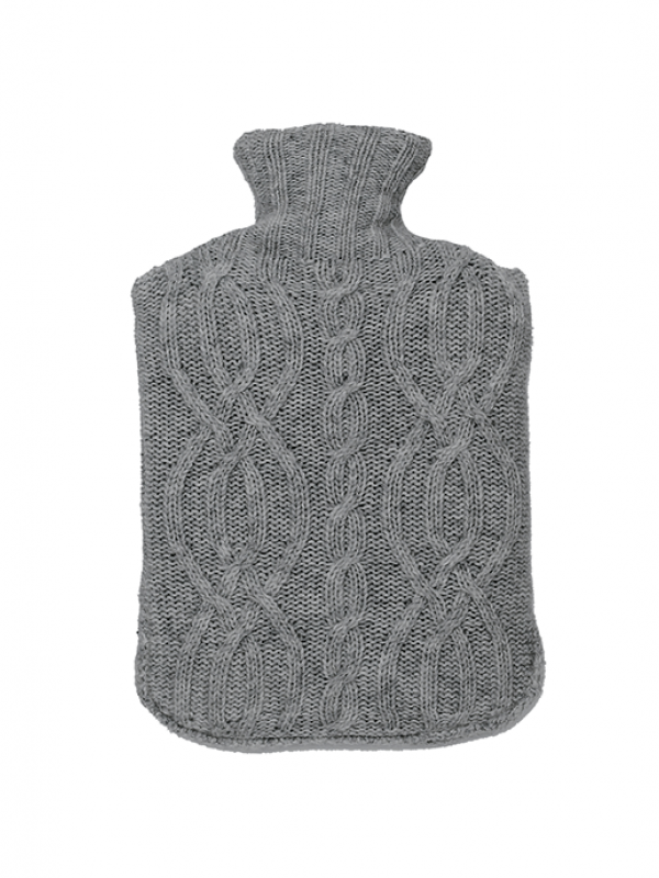 Grey Hot Bottle Cover - Cable Collection