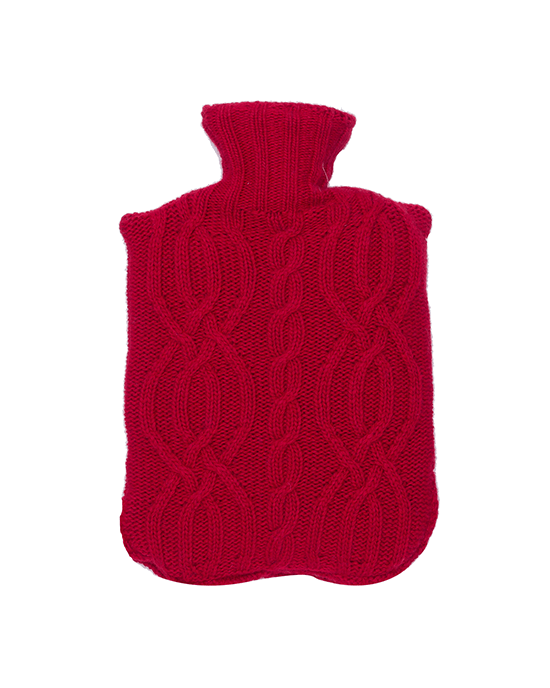 Cable Hot Bottle Cover - Red