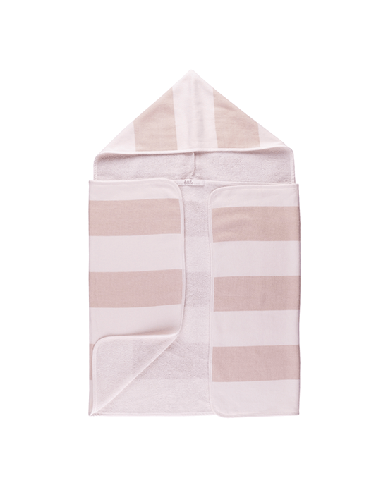 Stripy Hooded Baby Towel - Buff
