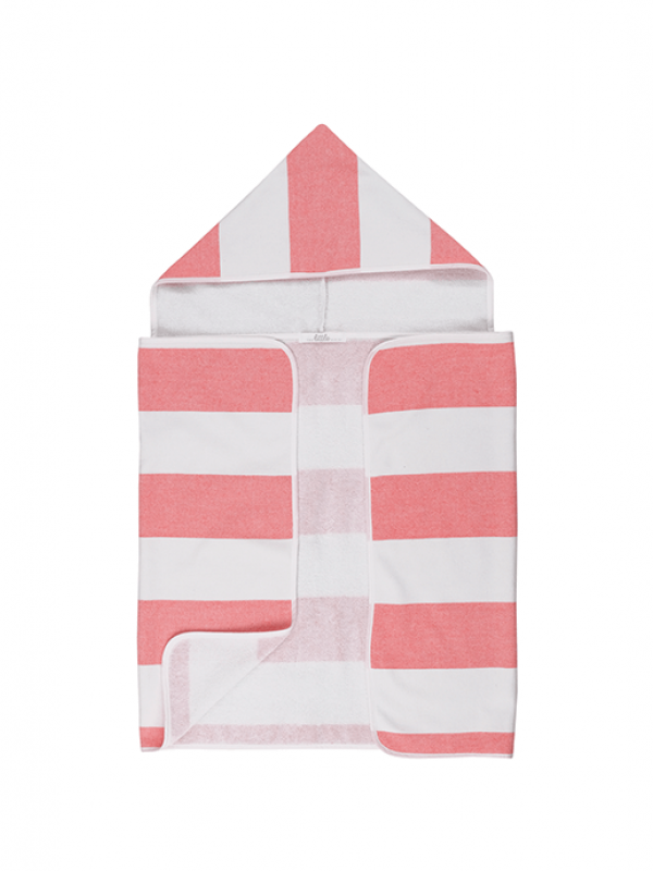 Coral Baby Towel - Stripy Hooded Collection
