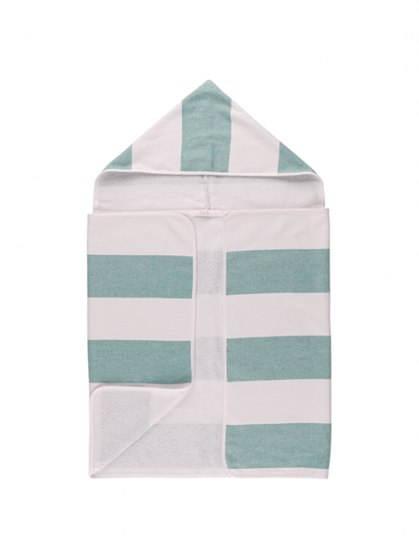 Green Baby Towel - Stripy Hooded Collection