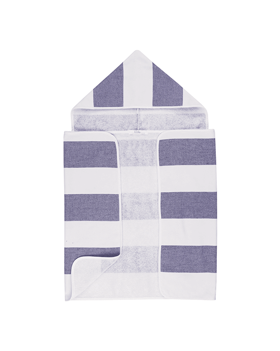 Stripy Hooded Baby Towel - Navy