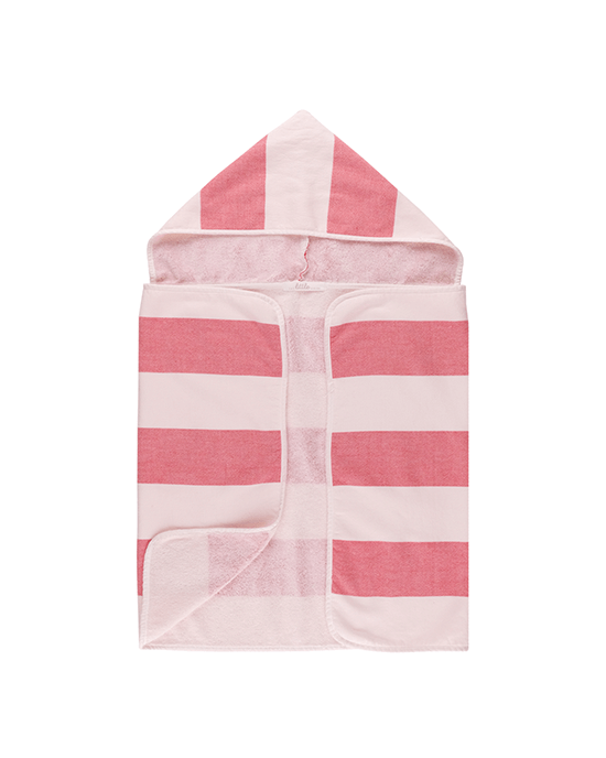 Stripy Hooded Baby Towel - Red