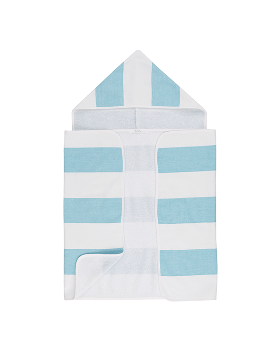 Stripy Hooded Baby Towel - Turquoise