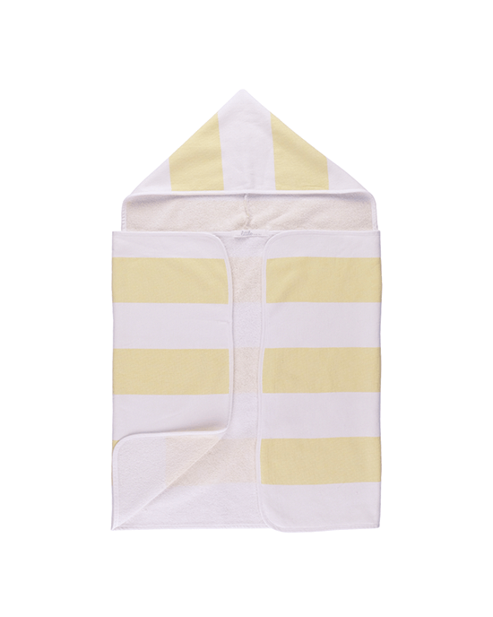 Stripy Hooded Baby Towel - Yellow