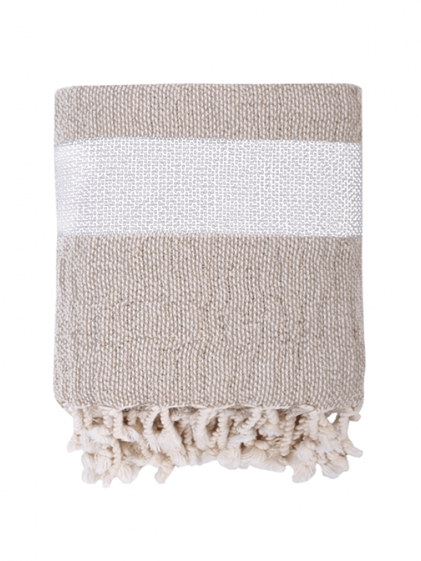 Natural/White Throw - Linen Basket Collection
