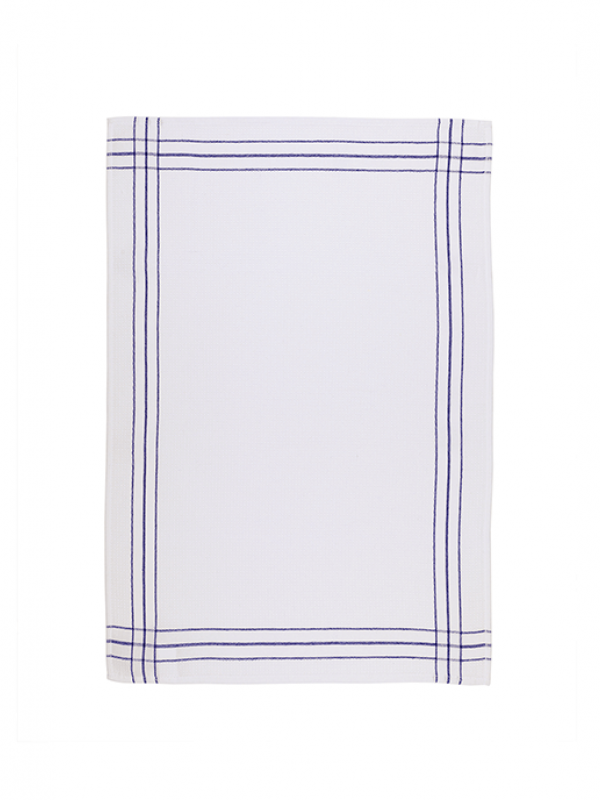 Cream/Navy Kitchen Towel Set of 2 - Waffle Collection