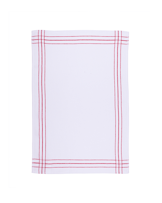 Waffle Kitchen Towel Set of 2 - White/Red