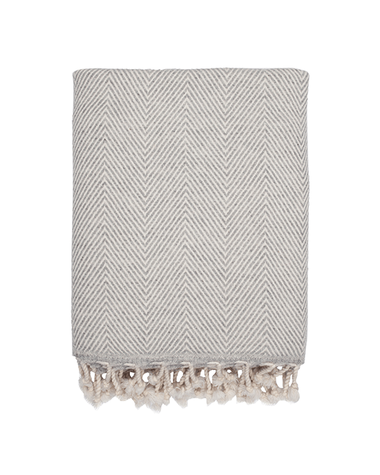 Wool Herringbone Throw - Grey
