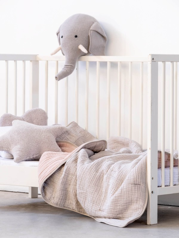 Light Grey/Blush Baby Quilt - Cocoon Collection