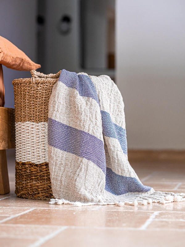 Natural/Navy Throw - Linen Basket Collection