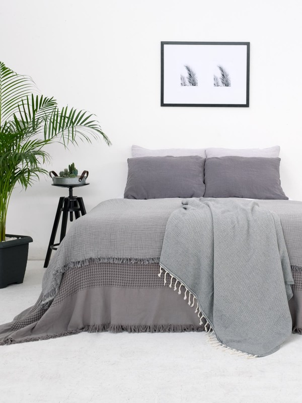 Dark Grey Bed Cover - Waffle Collection